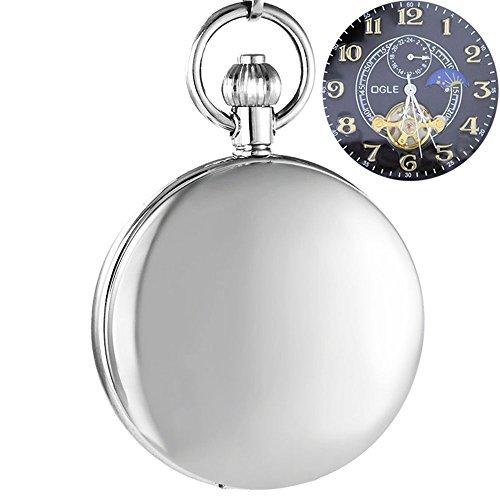 [해외]Ogle 방수 distorting 미러 블랙 Tourbillon 단계 Moon 체인 Fob 해골 자동 기계 포켓 시계/Ogle waterproof distorting mirror black Tourbillon phase Moon chain Fob Skeleton automatic mechanical pocket watch