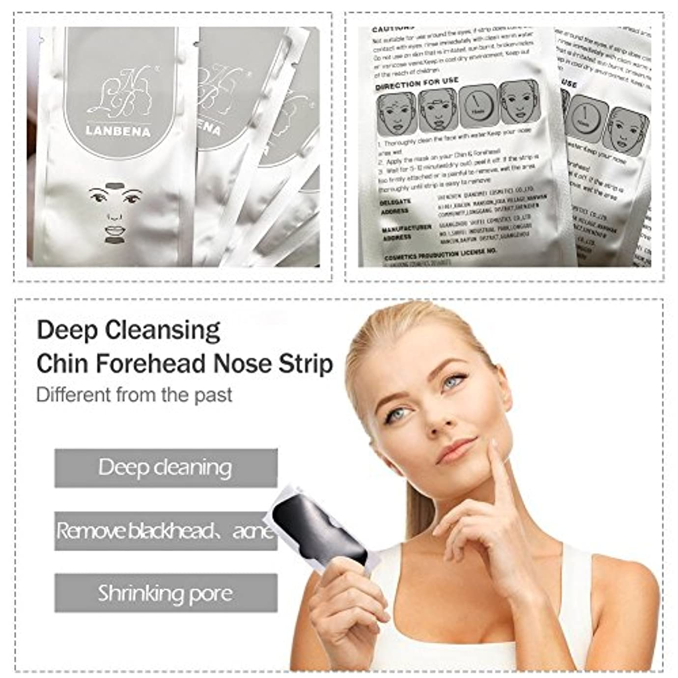 病者参加する性差別鼻ピーリングマスク10個鼻マスクピーリングディープクレンジング削除にきび浄化黒毛+ 10ピース顎額ストリップ