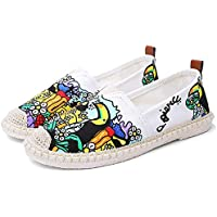 Hemore Women Canvas Loafers Printed Breathable Espadrilles Low Top Casual Flats Lightweight Walking Shoes