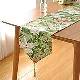 HEMFV 農村のすべての綿の厚い緑の生花テーブルの旗ヨーロッパの牧歌的なヴィンテージの大きな花のテーブルランナー (Size : 180cm)