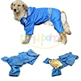 大型犬 中型犬 用 ペットレインコートキャップと大きな犬の犬の防水ジャケットへの媒体のためのペットの犬の子犬の防水レインコート雨スリッカー・レインポンチョ(Price Xes) (ブルー, 4XL)
