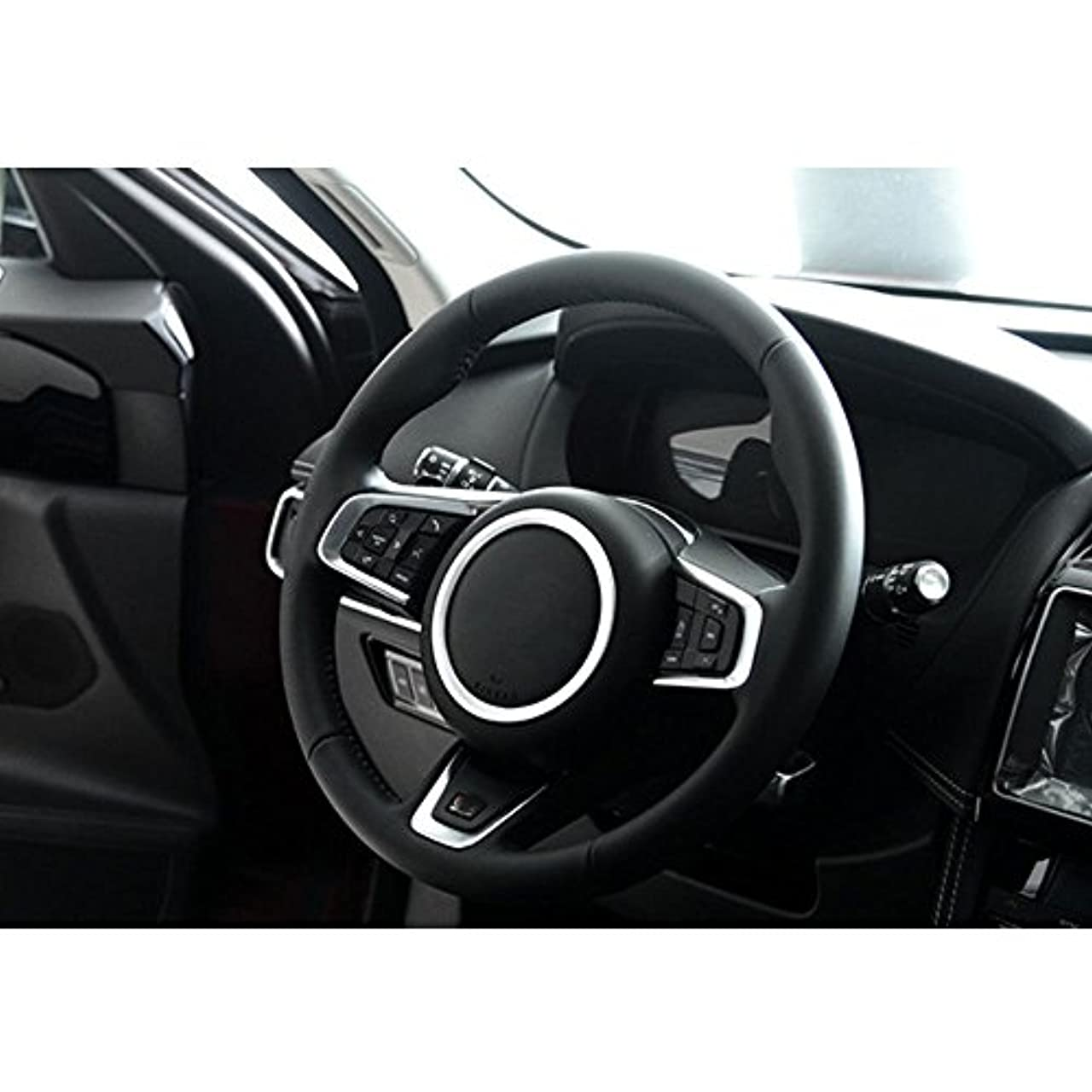 気配りのある結婚する現金Jicorzo - Car Styling Steering Wheel Cover Trim Interior Chrome Decor Ring Sticker For Jaguar XF XE F-Pace F-Type...