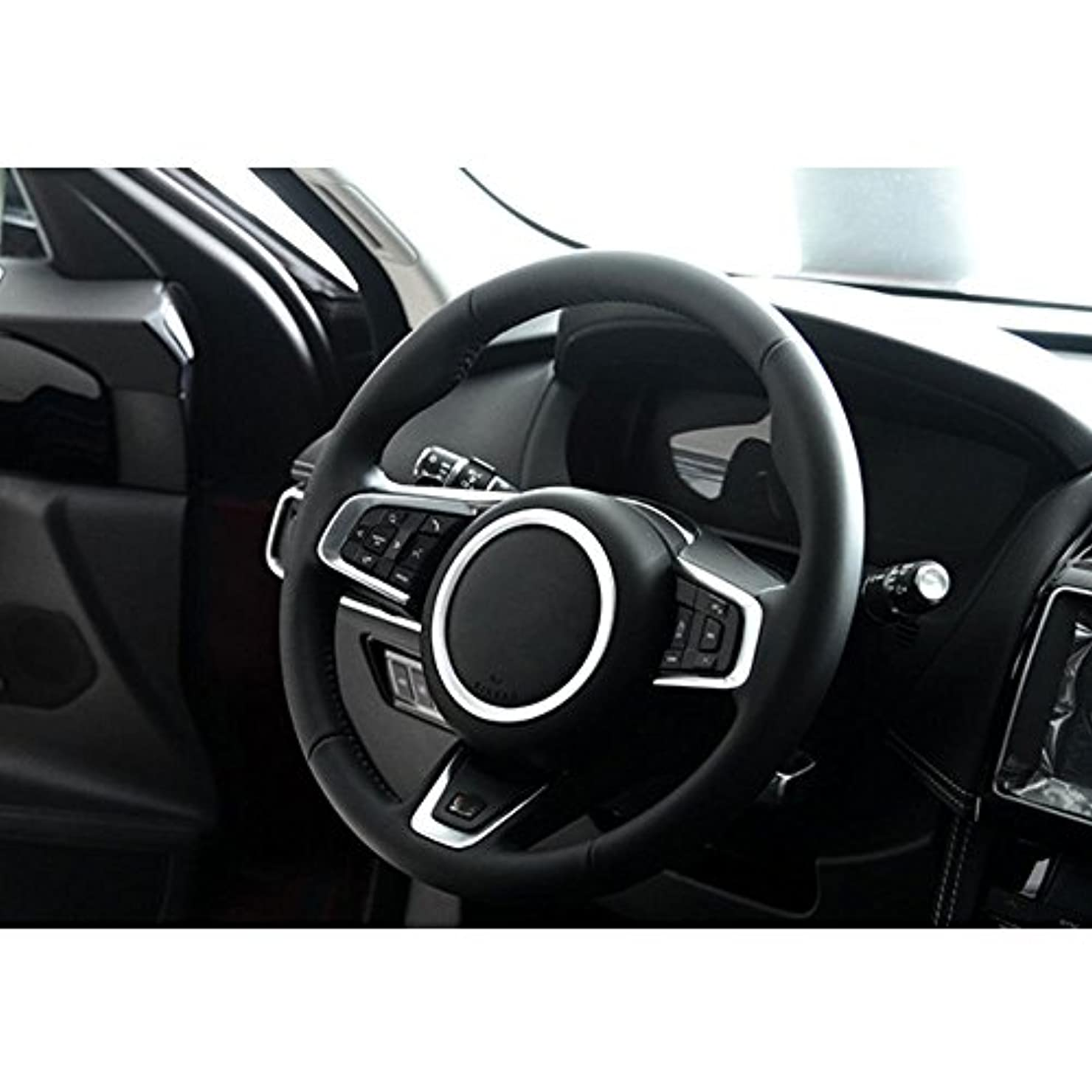 娘離婚コインJicorzo - Car Styling Steering Wheel Cover Trim Interior Chrome Decor Ring Sticker For Jaguar XF XE F-Pace F-Type...