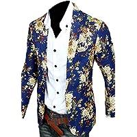 Mens Blazer Casual Floral Print Slim Fit Suit Blazer Jacket