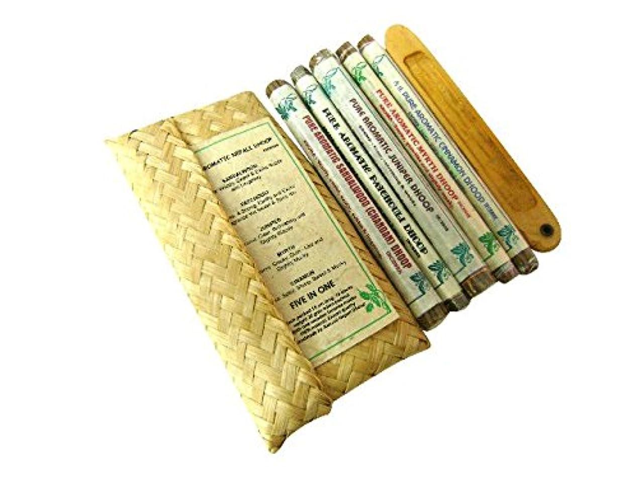 普及その間アフリカアロマティックドープ ティックドープ【5 in one gift pack お香たて付】