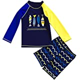 FAYALEQ Little Boys Swimsuit Sun Protective Two Pieces Beach Swimwear Rash Guard Sets
