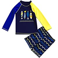 FAYALEQ Little Boys Swimsuit Sun Protective Two Pieces Beach Swimwear Rash Guard Sets
