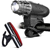 COMI 自転車ライト LED ヘッドライト USB充電式 CrazyLynX 【2018改良版】 自転車前照灯 テールライト付き IPX5防水 4モード調光 高輝度 超小型 簡単取り付け 懐中電灯兼用