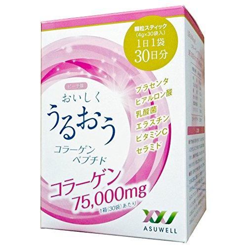 おいしくうるおうコラーゲンペプチド 75,000mg 30日分 (プラセンタ・ヒアルロン酸・乳酸菌・エラスチン・セラミド・ビタミンC 配合)