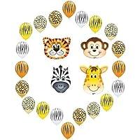 loonballoonジャングルサファリ動物園Monkey Tiger Zebra Giraffe 24 Party Mylar &ラテックスバルーンセット
