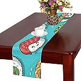 LKCDNG テーブルランナー 和風のお寿司 クロス 食卓カバー 麻綿製 欧米 おしゃれ 16 Inch X 72 Inch (40cm X 182cm) キッチン ダイニング ホーム デコレーション モダン リビング 洗える