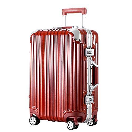 [トラベルハウス]Travelhouse スーツケース キャリーバッグ アルミフレーム ABS+PC 鏡面 超軽量 TSAロック  (M, レッド)