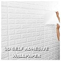 ホワイト 3D壁紙 レンガ 3Dウォールステッカー diy 壁紙 クッションブリック 壁紙シール レンガ 3D 居間、寝室、オフィス、テレビの壁の装飾用 (Size : 50 pieces)