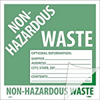 National Marker Corp. HW5SL100 Self-Laminating Labels Non-Hazardous Waste 6 Inch X 6 Inch PS Vinyl Bx100 [並行輸入品]