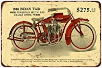 1916 Indian Twin Motorcycle Vintage Look Reproduction Sign 8 x 12 8120278
