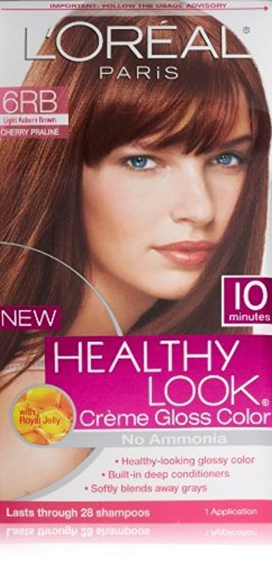 余分な文芸欠伸L'Oreal Healthy Look Creme Gloss Hair Color, 6RB Dark Red Brown/Cherry Chocolate by L'Oreal Paris Hair Color [...