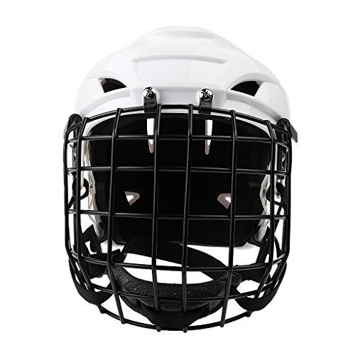 Flameer 金属製 男女兼用 アイスホッケー スノーボード ヘルメット フェイスマスク プロテクター 耐久性 通気孔付