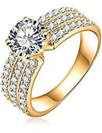 AMdxd Jewelry Gold Plated Women's Engagement Rings Big Round CZ with 3 Rows Crystal 7MM Width