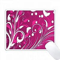 明るいピンクと白の花の葉と蝶 PC Mouse Pad パソコン マウスパッド