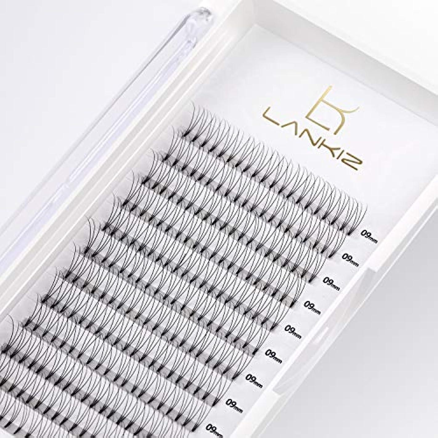 博物館パキスタン人製作LANKIZ まつげエクステ 3D ボリュームまつげ Dカール 太さ0.10 10mm 12列 マツエク(3本束)