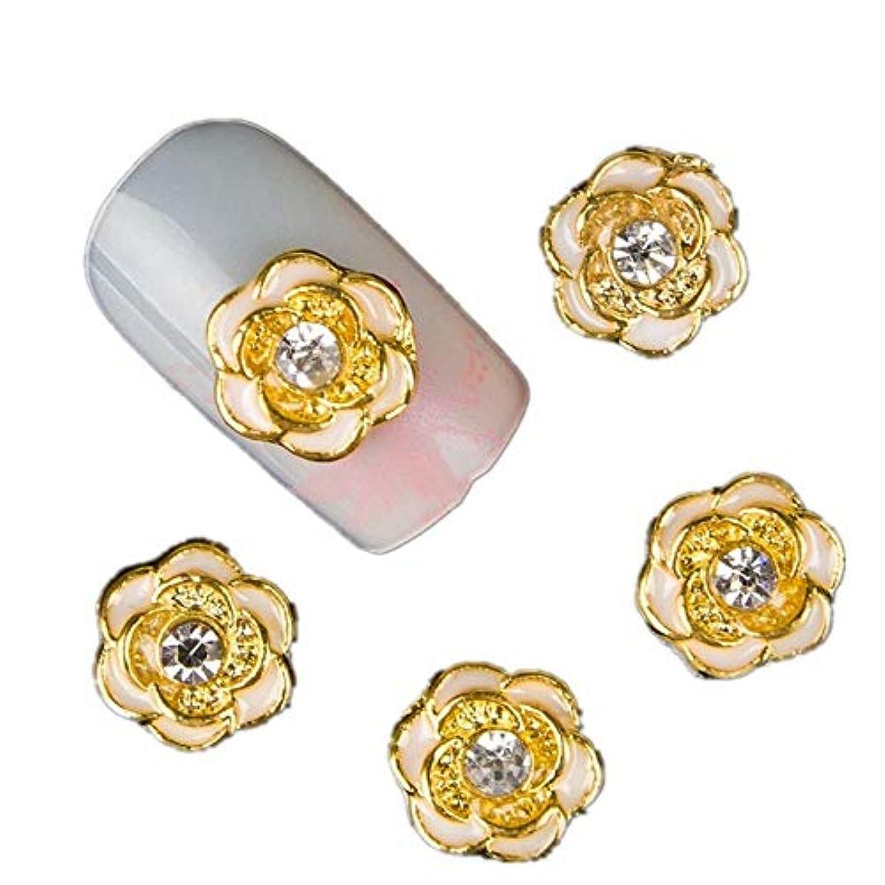平日投げる冷笑する10の3Dゴールドローズフラワーネイルアートの装飾ラインストーン合金DIYネイル用品マニキュアデザイン