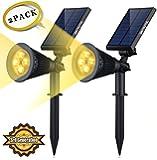 ソーラー LED ライト(第三世代)Siensync(TM) (2セット)ソーラー アウトドアー スポットライト 省エネ 屋外用 充電式 防水加工 バルブ 車道 庭 芝生 ガーデン
