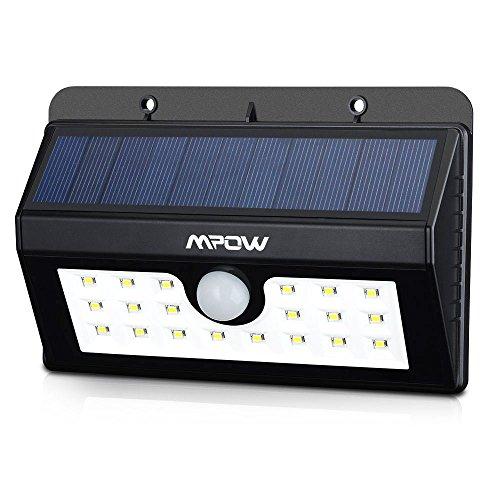 Mpow 20 LED ソーラーライト センサーライト 外灯 人感センサー 屋外照明/軒先/壁掛け/庭先/玄関周りなどのライト 夜間自動点灯 防犯用