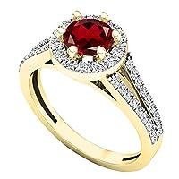 10K イエローゴールド 5.6mm ラウンド ジェムストーン&ホワイトダイヤモンド レディース ブライダル 婚約指輪