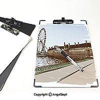 クリップボードメモ型サイズ低プロファイルクリップ ロンドン 学生用かわいい画集 バッキンガム宮殿歴史的建造物テムズ川観覧車鉛筆画アート装飾多色