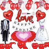結婚式飾り付け ウェディング 赤と白  love 風船 バルーン 紙吹雪入れ キラキラ バナー ハート バレンタイン パーティーデコレーション