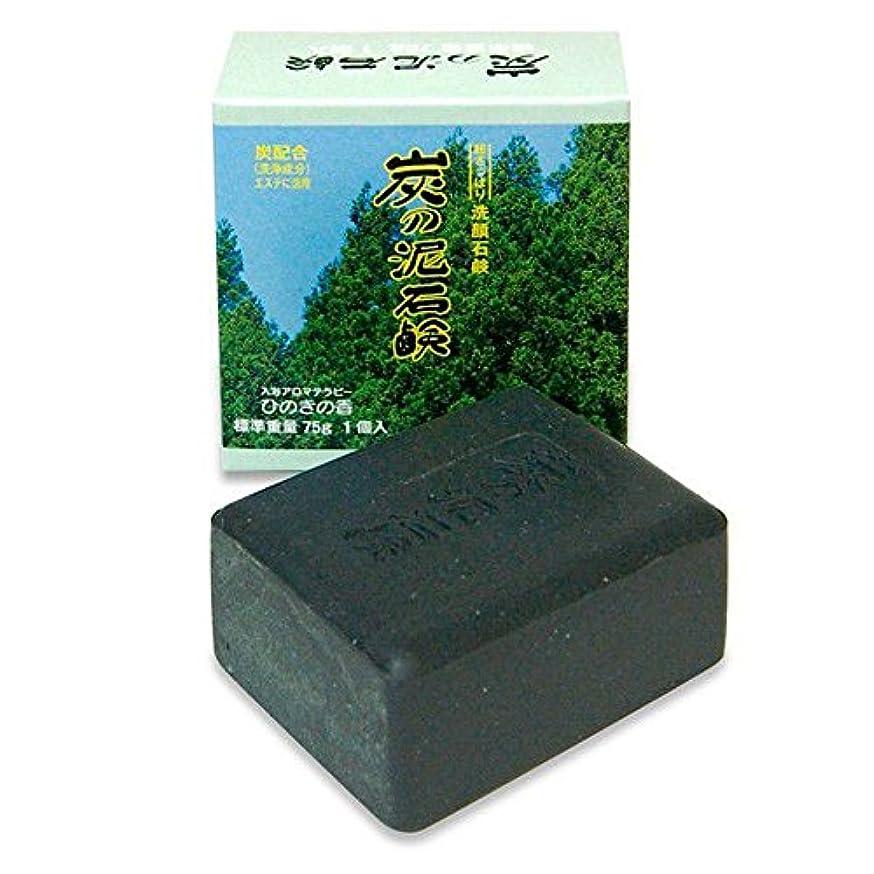 計り知れない慢大きい炭の泥石鹸 1個入り(入浴アロマテラピー ひのきの香 75g)