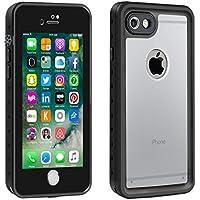 Eonfine-正規品 iPhone 7 用 防水ケース クリア 透明ケース アイフォン7ケース 防水 防塵 耐衝撃 完全防水 防雪 耐震 落下防止 IPx68 指紋認証対応 個性的 7カバー (透明&黒)
