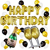 KEZAY Gold Birthday and Champagne Balloon Set Birthday Party Decorations for 21st 30th 40th 50th Birthday Party Supplies [並行輸入品]