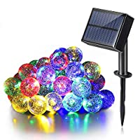 イルミネーションライト LED ストリングスライト USB充電式 ソーラーライト 防水 30球 6M 太陽光発電 パーティー クリスマス 新年 装飾用 USBケーブル付き (カラフル)
