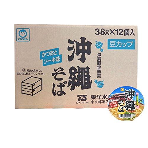 沖縄限定!東洋水産(マルちゃん) 沖縄そば 豆カップ かつおとソーキ味 1ケース (38g×12個入)