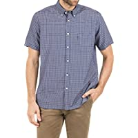 Blazer Men's Nathan Short Sleeve Check Shirt, Navy, XXL