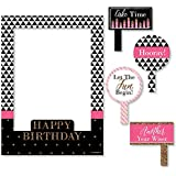 Big Dot of Happiness Chic Happy Birthday - ピンク ブラック ゴールド - 誕生日パーティー セルフィー 写真ブース 写真フレーム & 小道具 - 丈夫な素材にプリント