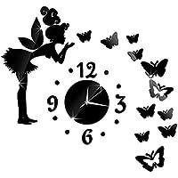 SUND ウォールステッカー おしゃれ 時計 DIY ファッションアクリル壁紙 飾り用 壁時計付き フェアリー 天使仙女様式 ミラーウォールステッカー 壁用シール  取り外り壁紙
