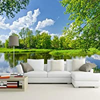 Lixiaoer カスタム青空と白い雲自然風景壁画壁画絵画寝室リビングルームの背景家の装飾壁紙-350X250Cm