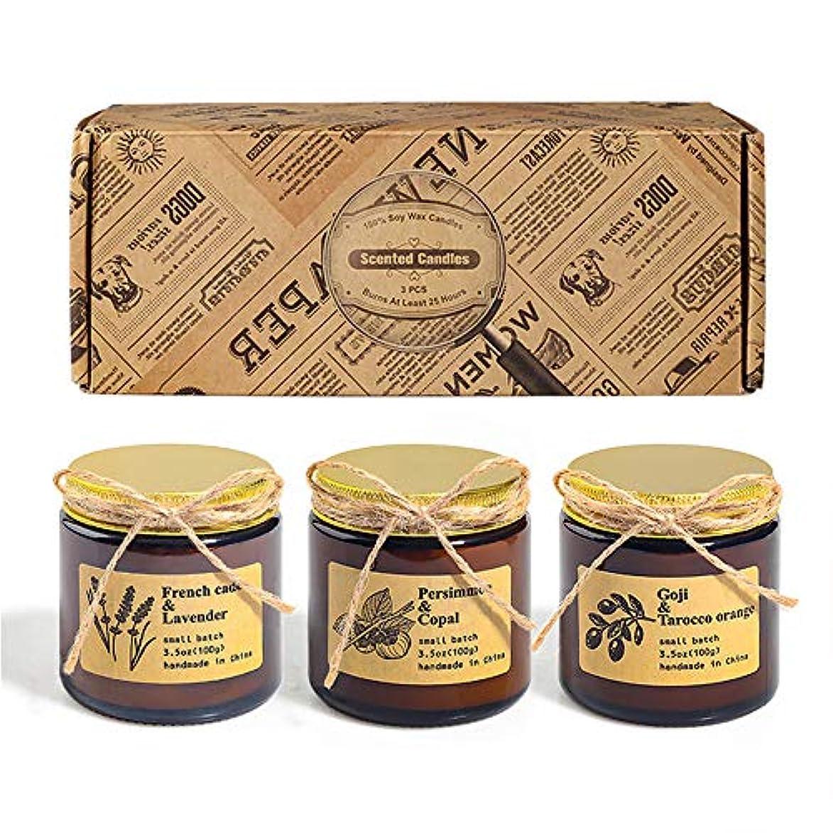 迷彩代理店誤ってアロマセラピーキャンドル、秋の装飾の香りキャンドル屋内または旅行用のポータブル香りキャンドル、3個