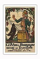 ブルゴーニュワイン、フランス - ワインメーカーHenri deBah?zre - ビンテージな広告ポスター によって作成された ガイ・アルヌー c.1916 - アートポスター - 76cm x 112cm