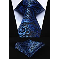 HISDERN Paisley Ties for Men Wedding Silk Tie + Handkerchief Wedding Necktie & Pocket Square Set