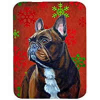Carolines Treasures LH9340LCB French Bulldog Red And Green Snowflakes Christmas Glass Cutting Board - Large