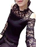 COCO&YUKA 肩 だし セクシー トップス レース 長袖 薄手 ニット レディース かわいい カットソー 花 柄 おしゃれ (XL, ブラック)