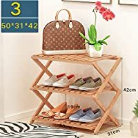 靴ラックナチュラル竹木製シンプル折りたたみ靴収納オーガナイザーホルダーマルチレイヤー多機能収納棚 (サイズ さいず : 50 * 31 * 42cm)
