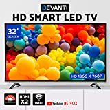 "DEVANTI Smart LED TV 32"" Inch HD LCD Slim Thin Screen Easy Access To Netflix YouTube 16:9 1366 X 768P DOLBY Surround Sound - Black"""