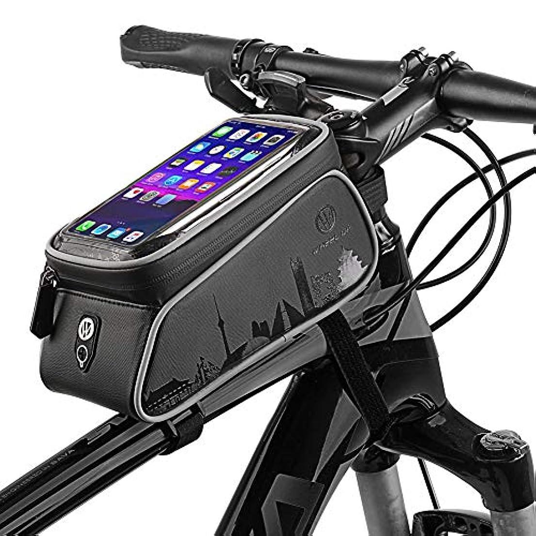 スリラー家主選出する自転車フレームバッグ、サイクリングフレームパニエ携帯電話ホルダー、防水サイクリングフロントチューブフレームパニエマウンテンMTBシティーロード自転車クロスバーバッグポーチホルダー スマートフォン用