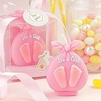 赤ちゃん洗礼式Candle Adorable Baby Boy / Girl Footprint誕生日キャンドルケーキトッパー赤ちゃんシャワーFavors ( inギフトボックス) Attached with Greeting Card 2.3''(L)X1.6''(W)X2.7''(H) (gift box) ピンク B01ERQNCXY