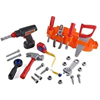 Click n' Play 23 piece Kids Pretend Play Real Working Toy Tool Set Includes Powered Drill, Hammer, Saw, Tape Measure, Tool Belt and other Construction Accessories - Great Christmas Gift for Boys [並行輸入品]