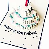 Happiest 誕生日 バースデー [ 立体 ] お祝い ホビー グリーティングカード 3D ポップアップ メッセージカード (バースデイカードブルー)